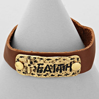 "Metal Tag ""Faith"" Snap Bracelet (Gold Brown)"