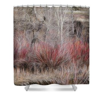 Spring Red Bushes Shower Curtain