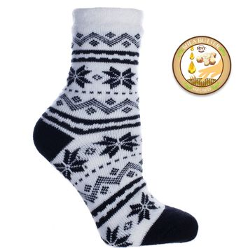 Black and white snowflake double layer socks, Shea butter infused