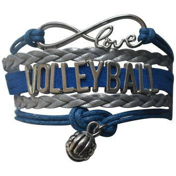 Volleyball Infinity Bracelet- Blue