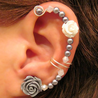 "Cartilage Ear Cuff  Wedding Bridal Prom Non Pierced ""Forever Beautiful"" Conch Cuff Quinceanera"