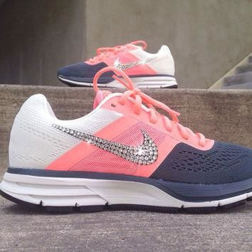 Nike Womens Air Pegasus+ 30 Training Running Jogging Shoes Customized with Swarovski C