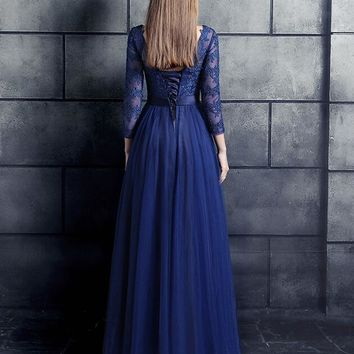 Royal Blue Lace Tulle Long Modest Bridesmaid Dresses 3/4 Sleeves  Corset A-line Floor Length Wedding