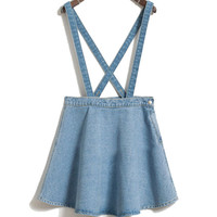 new Korean jean denim skirt thin umbrella big swing denim strap waist single buckle detachable suspenders skirts