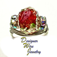 DWJ0388 Romantic Faceted Red Crystal Rose Silver Wire Wrap Ring All Sizes