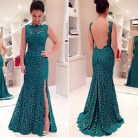 2016 Women Ladies New Fashion Dark Green Floral Lace Long Dress Backless Side Split Prom Party Evening Dress Gown [9852927183]