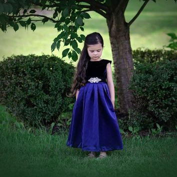 Navy Blue Amelia Classic Velvet & Satin Dress & Sash - Toddler, Girls & Juniors