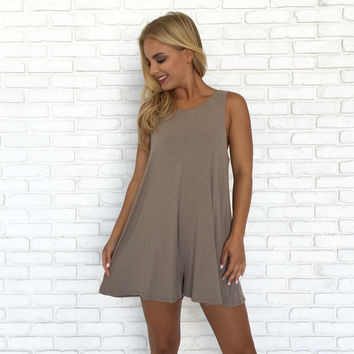 Lift Me Up Romper In Mocha