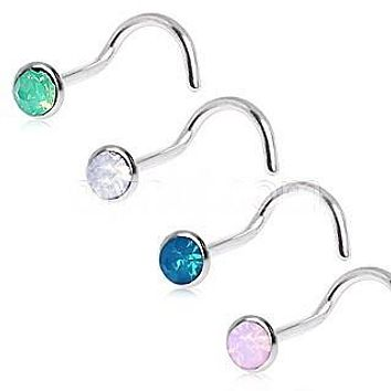 316L Surgical Steel Opalite Screw Nose Ring