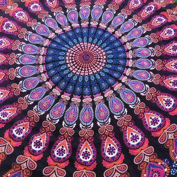 Round Purple Peacock Feather & Flower Tapestry