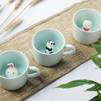 Creative Ceramic Mugs Cute Animal Coffee Cup 220ml