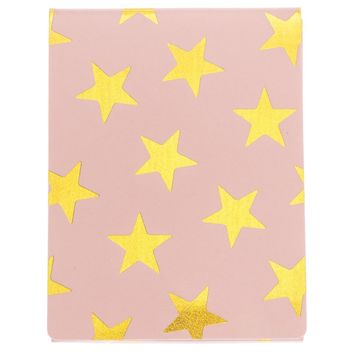 Stars Pocket Notepad in Pink and Gold Holographic Foil