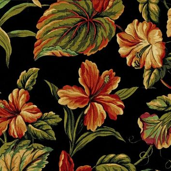 Tropical Floral Print Cotton Fabric by the Yard - Midnight in the Tropics Leaves and Flowers