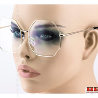 Vintage Retro Oversized Women`s Clear Lens Octagon Gold Metal Frame Eye Glasses