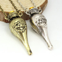 Harry Potter Felix Felicis Potion Bottle Pendant Necklace Movie Jewelry Gifts Statement Necklaces Cheap Fashion Jewelry
