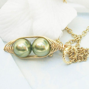 Two Peas in a Pod Pendant Necklace for Two Special People in Light Green 8mm Swarovski Pearls. For Brides,Friends,Sisters And Mothers.