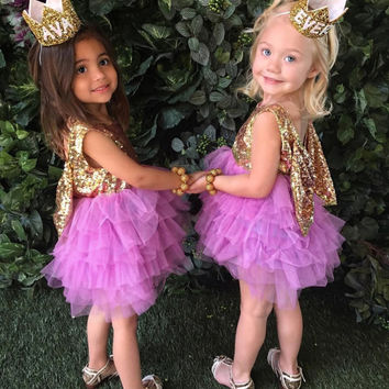 EMS DHL Free Shipping toddlers Little Girls Children's Gauze Dress tutu Party Dress Prom Seuqin Sparkle Holiday Wedding wear