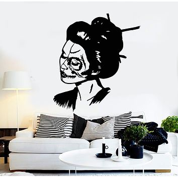Vinyl Wall Decal Skull Girl Face Woman Day Of Dead Stickers Mural (g742)