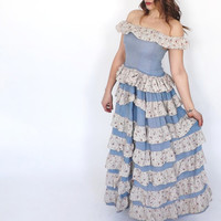"Antique ""Bluebonnets"" Dress 1900s Lawn Dress Blue Floral Long Cotton Gown Summer Sun Dress Whimsical Alice in Wonderland Fairy Tale Princess"