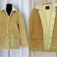 70s Corduroy Sherpa jacket / mens size S / M / 38 chest / Fleece lined retro coat / work / rancher / vintage TownCraft Pennys