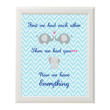 First We Had Each Other Nursery Print Instant Download Baby Blue Chevron Elephants