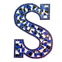 Nursery Letter S, Blue Mosaic Wall Hanging