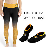 Missouri Tigers Womens Official NCAA Gradient Print Leggings + Free Foot-Z Bundle