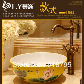 Porcelain Round Bathroom Ceramic Counter Top Wash Basin Cloakroom Sink Vessel Lavabo Bowl JY6985