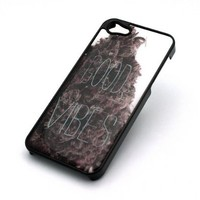 BLACK Snap On Case IPHONE 5 5S Plastic Cover - GOOD VIBES KUSH weed og purple re...