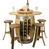 Wine Rack Table with Barrel Stools