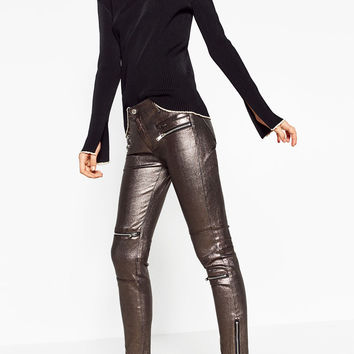 METALLIC BIKER TROUSERS DETAILS