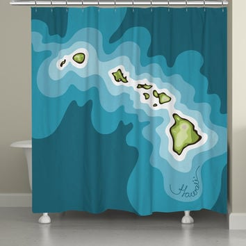 Hawaii Abstract Map Shower Curtain