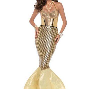 DCCKLP2 Golden Glimmer Mermaid,halter dress with foam fin tail in GOLD