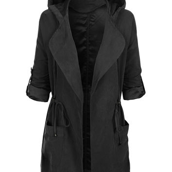 LE3NO Womens Lightweight Open Front Anorak Parka Jacket with Hoodie