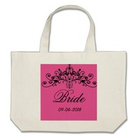 Pink, bride with a crown, large tote bag