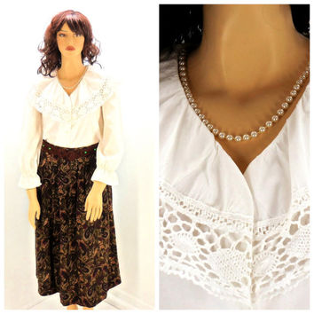 Vintage white cotton Edwardian style blouse M / L, white crocheted lace wide collar blouse, victorian white blouse,  SunnyBohoVintage