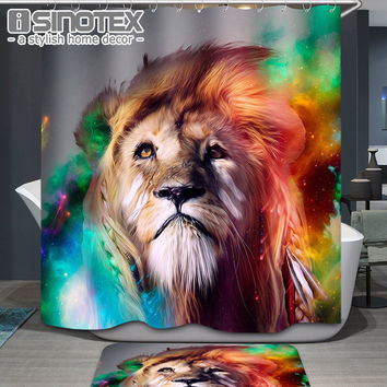 New High Quality Cartoon Printed Lion Panda Skull Polyester Shower Curtain Waterproof Home Bathroom 3D Thicken Shower Curtains