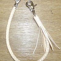 handmade woven vegetable leather key lanyard natural thick
