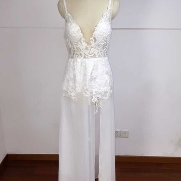 2018 Sexy Deep V Neck Wedding Dresses A Line Side Split Bridal Gowns Custom Made Chiffon Real Picture