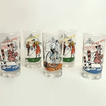"5 Anchor Hocking Elegance Drinking Glasses, Heydays ""As We Were"" Victorian Scenes, Vintage Multi Color Kitsch Glassware"