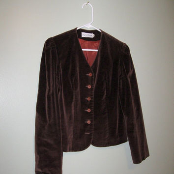 FREE SHIPPING / Vintage 1970s Brown Velvet Jacket / Equestrian Jacket / Blazer / Women / Fall Fashion / Outerwear / size Small