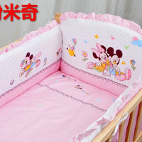 Promotion! 5PCS Mickey Mouse Baby Bedding set 100% Child Baby Bed around unpick and wash (bumpers+matress+pillow)