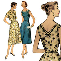 1950s Dress Pattern Bust 37 Simplicity 1640 Sleeveless Low Back Dress and Bolero Summer Garden Cocktail Party Womens Vintage Sewing Patterns