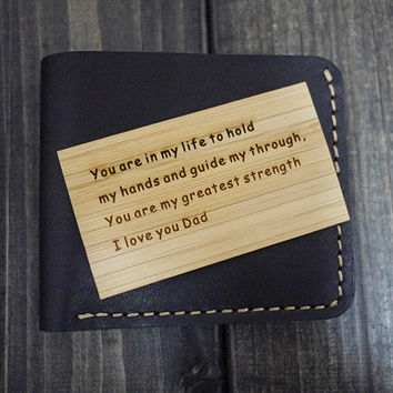 Men's Wallet Card - Wood Wallet Insert Card - Engraved Wallet Insert Card - Handmade Wallet Insert Card - Anniversary Gift for Men