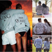 Couple T-Shirt King and the Queen Long Sleeve Love Matching Shirts (queen =gray) ( king=dark gray)