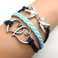 Double Cute Birds& Heart to Heart Bracelet Navy Blue Rope and Light Blue Leather Personalized Friendship Gift 2225r