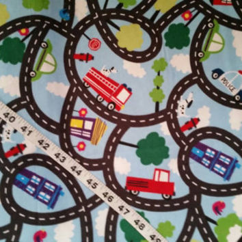 Kids Flannel fabric police fireman city streets road map cotton quilt print quilting sewing material by the yard crafts crafting project