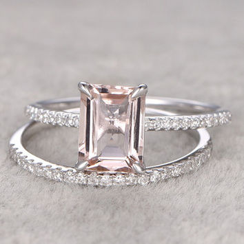 Morganite Engagement Ring White Gold Diamond Bridal Set 7x9mm Emerald Cut Thin Pave Stacking Band 14k/18k