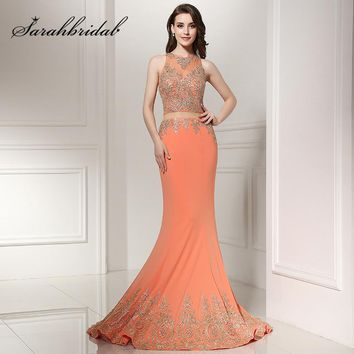 New Arrival Orange Long Mermaid Prom Dresses with Golden Appliques Beading Graduation 2017 Formal Evening Party Gowns LX227