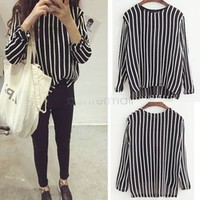 Promotion Women Knitting Hemp Flowers Vertical Striped Sweater Loose Pullover Female Cotton Crewneck Sweater B22 CB032018